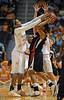 Dec 16, 2009; Knoxville, TN, USA; Tennessee Lady Vols forward Glory Johnson (25) defends Louisville Cardinals guard Ashley Rainey (21) during the second half at Thompson Boling Arena. The Lady Vols beat the Cardinals 86-56. Mandatory Credit: Don McPeak-US PRESSWIRE