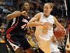Dec 16, 2009; Knoxville, TN, USA; Tennessee Lady Vols guard Angie Bjorklund (5) drives on Louisville Cardinals center Keshia Hines (45) during the first half at Thompson Boling Arena. Mandatory Credit: Don McPeak-US PRESSWIRE