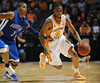 Nov 17, 2009; Knoxville, TN, USA; Tennessee Volunteers guard Bobby Maze (3) drives on UNC Asheville Bulldogs guard J P Primm (3) during the second half at Thompson-Boling Arena. The Volunteers beat the Bulldogs 124-49. Mandatory Credit: Don McPeak-US PRESSWIRE