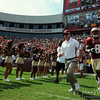 Head Coach Jimbo Fisher runs out of the tunnel before the game at the Florida State vs. BYU football game held on September 18, 2010 at Doak Campbell Stadium.