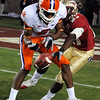Xavier Rhodes (27) breaks up a long pass at the FSU vs. Clemson Football Game held on Nov 13.