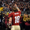 Dustin Hopkins (18) thanks the crowd after kicking the winning field goal at the FSU vs. Clemson Football Game held on Nov 13.