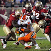 A strong FSU defense bring down a Clemson runner at the FSU vs. Clemson Football Game held on Nov 13.