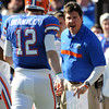 Jan 2, 2012; Tallahassee, FL, USA; Florida Gators head coach Will Muschamp speaks with his quarterback John Brantley (12) during the first quarter of the 2012 Gator Bowl against the Ohio State Buckeyes at EverBank Field.  Mandatory Credit: Melina Vastola-US PRESSWIRE