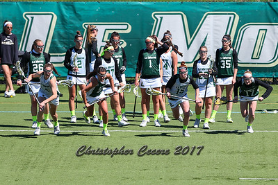 April 18, 2017; Syracuse, NY; USA; The Dolphins warm up before a division II women's lacrosse game between the Le Moyne Dolphins and the Adelphi Panthers at Ted Grant Field. Dolphins won 5-4.  Photo: Christopher Cecere