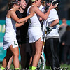 April 18, 2017; Syracuse, NY; USA; The Le Moyne Dolphins celebrate a victory beating the Adelphi Panthers in a division II women's lacrosse game at Ted Grant Field. Dolphins won 5-4.  Photo: Christopher Cecere