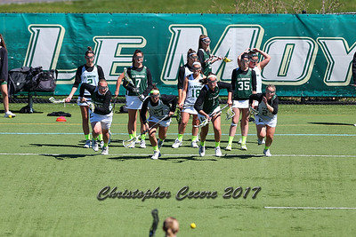 April 18, 2017; Syracuse, NY; USA; Division II women's lacrosse game between the No. 3 Le Moyne Dolphins and the No. 1 Adelphi Panthers at Ted Grant Field. Dolphins won 5-4.  Photo: Christopher Cecere