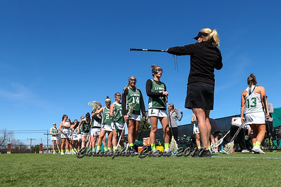 April 18, 2017; Syracuse, NY; USA; The Le Moyne Dolphins lineup for a stick check before a division II women's lacrosse game between the Le Moyne Dolphins and the Adelphi Panthers at Ted Grant Field. Dolphins won 5-4.  Photo: Christopher Cecere