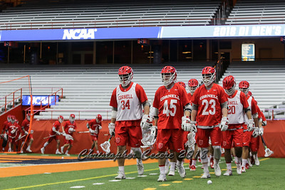 May 13, 2018; Syracuse, NY; USA; NCAA Division I lacrosse first round tournament game between the No. 8 seed Syracuse Orange and the Cornell Big Red at the Carrier Dome. Cornell won 10-9.  Photo: Christopher Cecere/Inside Lacrosse