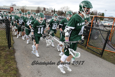 March 1, 2017; Rochester, NY; USA; NCAA Division II lacrosse game between the Roberts Wesleyan Redhawks and the No. 1 Le Moyne Dolphins at Roberts Wesleyan College. Le Moyne won 14-3.  Photo: Christopher Cecere