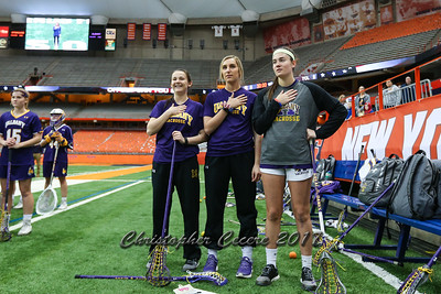 February 27, 2017; Syracuse, NY; USA; NCAA Division I women's lacrosse game between the Albany Great Danes and the No. 4 Syracuse Orange at the Carrier Dome. Orange won 13-12.  Photo: Christopher Cecere/Inside Lacrosse