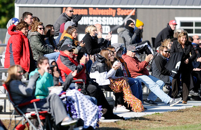 Don Knight | The Herald Bulletin Fans react as Anderson University scored a goal early against Earlham College on Wednesday.