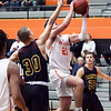 AU's Jake Gudorf gets a step on Calvin defender to score a lay in.