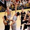 Don Knight | The Herald Bulletin<br /> Anderson University's Stanley Duncan shoots a basket as the Ravens hosted Franklin College on Saturday.