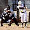 John P. Cleary | The Herald Bulletin<br /> Anderson University's Mariah Hardin drives the ball into left center field with two runners on base for a RBI single.