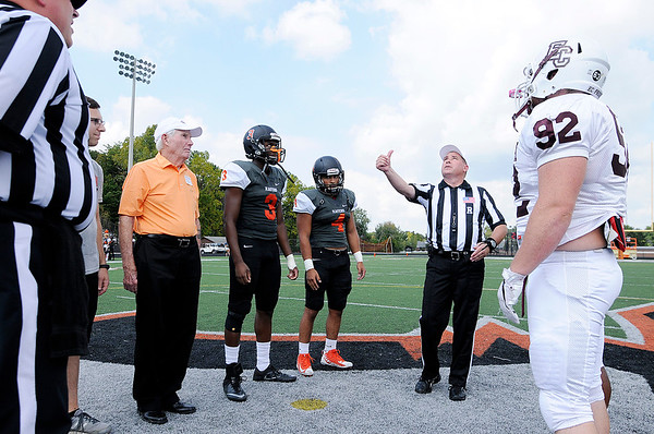 Don Knight   The Herald Bulletin<br /> Carter Byfield was a honorary captain for the coin toss as Anderson hosted Earlham on Saturday. Byfield was part of the first Ravens football team in 1947.