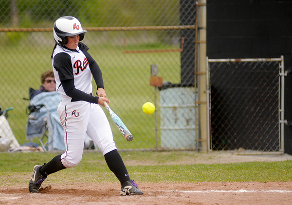 Anderson's Kelly Rusterholz hits an RBI double to give the Ravens a 3-2 lead over Franklin in the first game of a doubleheader on Saturday.