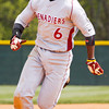 Indiana University Southeast sophomore Marcus Howard makes his way towards third base during the first inning of their game against Alice Lloyd College in the Kentucky Intercollegiate Athletic Conference baseball tournament at IU Southeast on Thursday. Staff photo by Christopher Fryer
