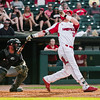 Louisville's Brendan McKay makes a hit during the Cardinals' game against Northern Kentucky at Slugger Field on Wednesday. Staff Photo By Josh Hicks