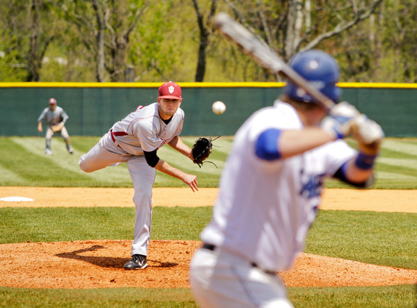 Indiana University Southeast  junior Patrick Yochum pitches during the second inning of their game against Alice Lloyd College in the Kentucky Intercollegiate Athletic Conference baseball tournament at IU Southeast on Thursday. Staff photo by Christopher Fryer