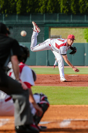 Louisville's Bryan Hoeing pitches the ball during the Cardinals' game against Northern Kentucky at Slugger Field on Wednesday. Staff Photo By Josh Hicks