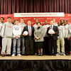 The Indiana University Southeast men's basketball team poses for photographs with New Albany Mayor Jeff Gahan, center right, Jeffersonville Mayor Mike Moore, center left, and IU Southeast Chancellor Sandra Patterson-Randles, center, following a a ceremony on Wednesday afternoon to honor their National Association of Intercollegiate Athletics Final Four appearance earlier this month. The Grenadiers finished their season with a 30-5 overall record, and the final four appearance was a first in the school's history. Staff photo by Christopher Fryer