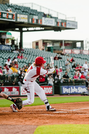 Louisville's Devin Mann swings during the Cardinals' game against Northern Kentucky at Slugger Field on Wednesday. Staff Photo By Josh Hicks