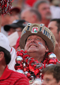 An Ohio State fan cheers against Marshall during the first quarter of an NCAA college football game Thursday, Sept. 2, 2010, in Columbus, Ohio. (AP Photo/Terry Gilliam)