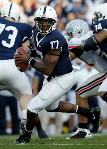 Penn State quarterback Daryll Clark (17) scrambles during the first half of an NCAA college football game against Ohio State in State College, Pa., Saturday, Nov. 7, 2009. Ohio State won 24-7. (AP Photo/Carolyn Kaster)