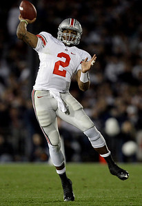 In this Saturday, Nov. 7, 2009 photo, Ohio State quarterback Terrelle Pryor passes the ball during the second half of an NCAA college football game against Penn State in State College, Pa. Ohio State won 24-7. Ohio State got over its big-game blues by beating up on Penn State. There's little time to rest, though: Iowa is coming to the Horseshoe next with first place in the Big Ten on the line. (AP Photo/Carolyn Kaster)