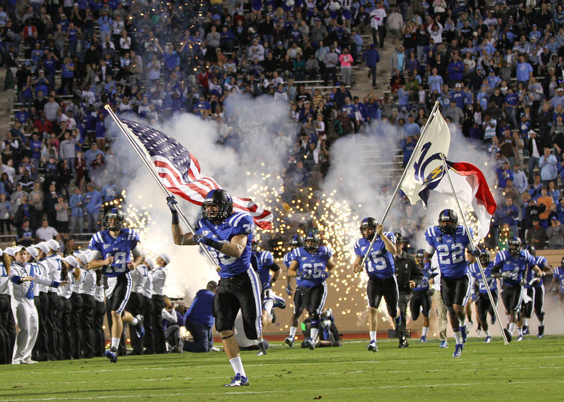 Duke Takes the field. Duke comes back to defeat UNC 33 to 30 Saturday night October 20, 2012. (Photo by Jack Tarr)