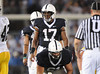 Sep 26, 2009; State College, PA, USA; Penn State Nittany Lions quarterback Daryll Clark (17) gets ready to take the snap from center Stefen Wisniewski (61) during the first half at Beaver Stadium. The Hawkeyes beat the Nittany Lions 21-10. Mandatory Credit: Don McPeak-US PRESSWIRE