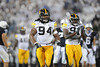 Sep 26, 2009; State College, PA, USA; Iowa Hawkeyes defensive end Adrian Clayborn (94) walks to the huddle in a game against the Penn State Nittany Lions during the first half at Beaver Stadium. The Hawkeyes beat the Nittany Lions 21-10. Mandatory Credit: Don McPeak-US PRESSWIRE