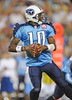 Sep 3, 2009; Nashville, TN, USA; Tennessee Titans quarterback Vince Young (10) drops back to pass against the Green Bay Packers during the second half at LP Field. The Titans beat the Packers 27-13. Mandatory Credit: Don McPeak-US PRESSWIRE