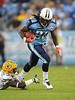 Sep 3, 2009; Nashville, TN, USA; Tennessee Titans running back Chris Johnson (28) slips a tackle by Green Bay Packers cornerback Brandon Underwood (33)  during the first half at LP Field.  Mandatory Credit: Don McPeak-US PRESSWIRE