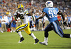 Sep 3, 2009; Nashville, TN, USA; Green Bay Packers running back Kregg Lumpkin (28) outruns Tennessee Titans linebacker Stanford Keglar (59) on his way to a touchdown during the second half at LP Field. The Titans beat the Packers 27-13. Mandatory Credit: Don McPeak-US PRESSWIRE