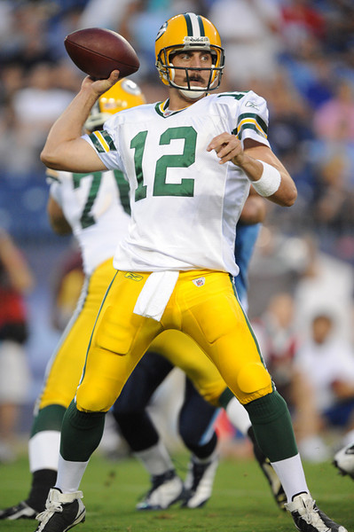 Sep 3, 2009; Nashville, TN, USA; Green Bay Packers quarterback Aaron Rodgers (12) throws against the Tennessee Titans during the first half at LP Field.  Mandatory Credit: Don McPeak-US PRESSWIRE