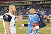 Dec 13, 2009; Nashville, TN, USA; Tennessee Titans kicker Rob Bironas (2) talks with St Louis Rams kicker Josh Brown (3) after a game LP Field. The Titans beat the Rams 47-7. Mandatory Credit: Don McPeak-US PRESSWIRE