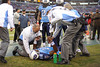 Dec 13, 2009; Nashville, TN, USA; Tennessee Titans quarterback Vince Young (10) is attended to by team trainers in a game against the St Louis Rams during the first half at LP Field. Mandatory Credit: Don McPeak-US PRESSWIRE