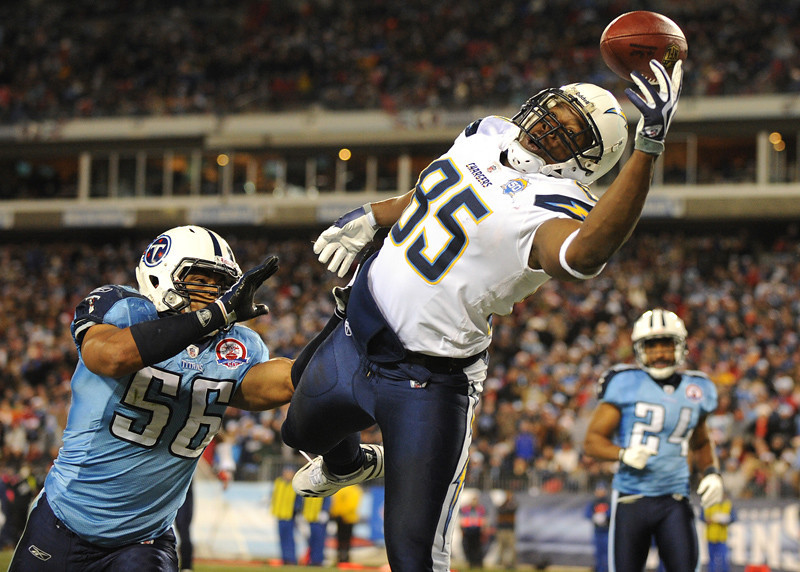 Dec 25, 2009; Nashville, TN, USA; San Diego Chargers tight end Antonio Gates (85) has a pass go off his finger tips against the Tennessee Titans during the first half at LP Field. Mandatory Credit: Don McPeak-US PRESSWIRE