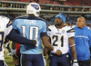 Dec 25, 2009; Nashville, TN, USA; San Diego Chargers running back LaDainian Tomlinson (21) greets Tennessee Titans quarterback Vince Young (10) at mid field after a game at LP Field. The Chargers beat the Titans 42-17. Mandatory Credit: Don McPeak-US PRESSWIRE