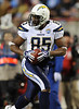 Dec 25, 2009; Nashville, TN, USA; San Diego Chargers tight end Antonio Gates (85) runs for a touchdown against the Tennessee Titans during the first half at LP Field. Mandatory Credit: Don McPeak-US PRESSWIRE