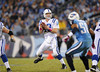 Oct 11, 2009; Nashville, TN, USA; Indianapolis Colts quarterback Peyton Manning (18) drops back to pass against the Tennessee Titans during the second half at LP Field. The Colts beat the Titans 31-9. Mandatory Credit: Don McPeak-US PRESSWIRE