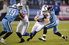 Oct 11, 2009; Nashville, TN, USA; Indianapolis Colts wide receiver Austin Collie (17) is tackled by Tennessee Titans safety Michael Griffin (33) during the second half at LP Field. The Colts beat the Titans 31-9. Mandatory Credit: Don McPeak-US PRESSWIRE