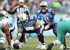 Dec 20, 2009; Nashville, TN, USA; Tennessee Titans quarterback Vince Young gets set to take the snap from center Kevin Mawae (68) against the Miami Dolphins during the first half at LP Field. Mandatory Credit: Don McPeak-US PRESSWIRE