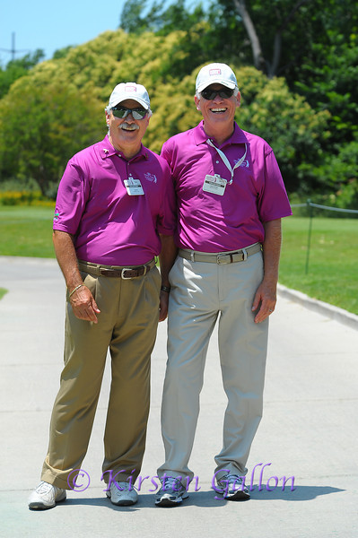 Colonial volunteers Ron Pitt on the left and Chuck Gavaietz on the right, are a vital part of the tournament.  These guys were having a good time on a hot and windy Texas day.