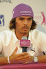 Rickie Fowler answering questions at his press conference.