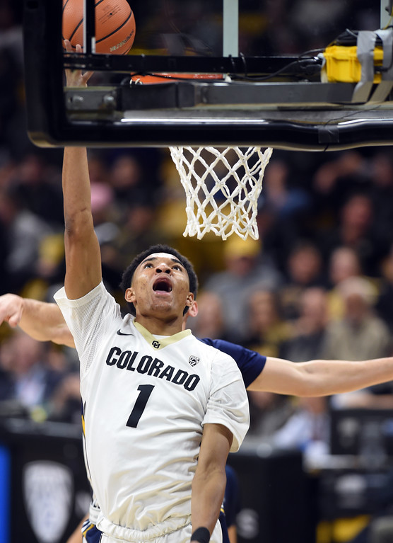 . Tyler Bey,  of CU,  gets to the basket on UNC during the November 10th, 2017 game in Boulder.  Cliff Grassmick / Staff Photographer/ November 10, 2017, 2017