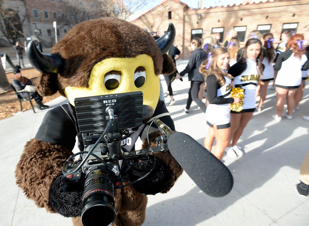 . Chip tries out a new career before the CU Cal Homecoming game on Saturday.  Cliff Grassmick / Staff Photographer/ October 28, 2017