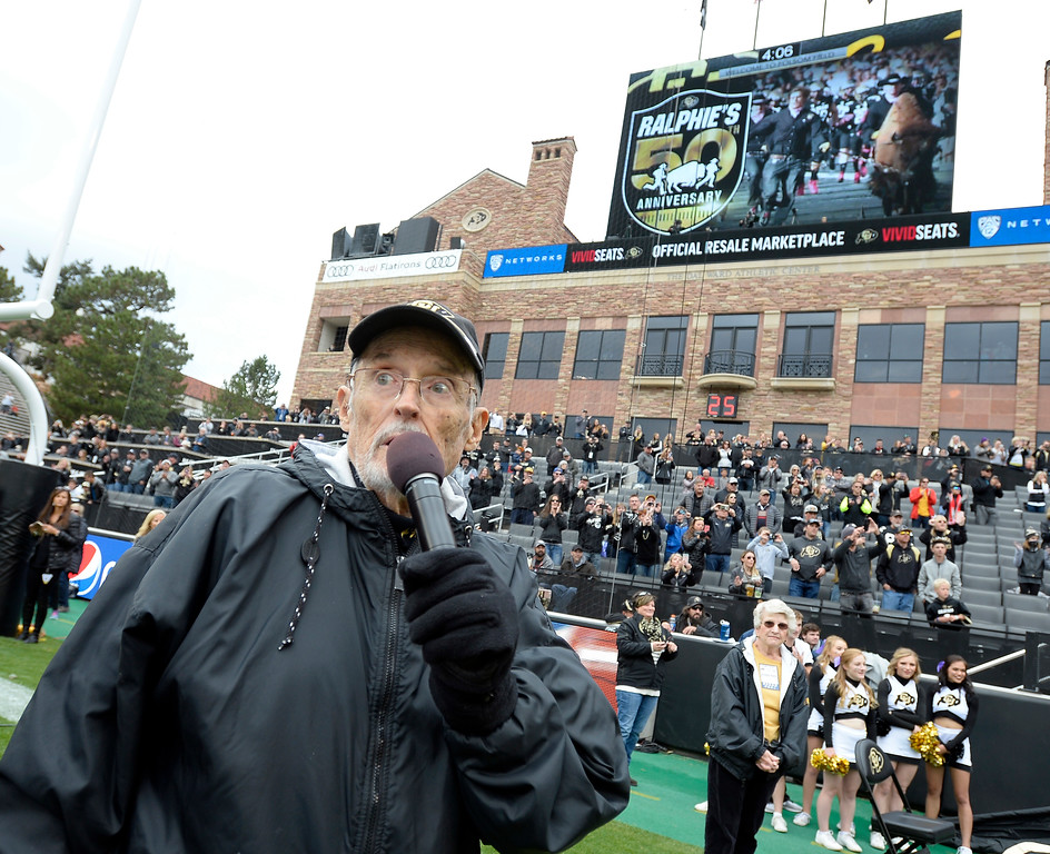 ". Long-time voice of the CU Buffs, Alan Cass, proclaims, ""Here comes Ralphie!\"" during the CU Cal Homecoming game on Saturday.  Cliff Grassmick / Staff Photographer/ October 28, 2017"